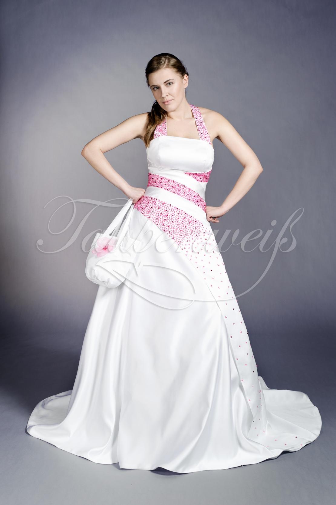 e79739c32c0f Brautkleid TW0105B - Brautkleid TW0105B A-Linie Satin pink Perlen  Pailletten Neckholder Schnürung